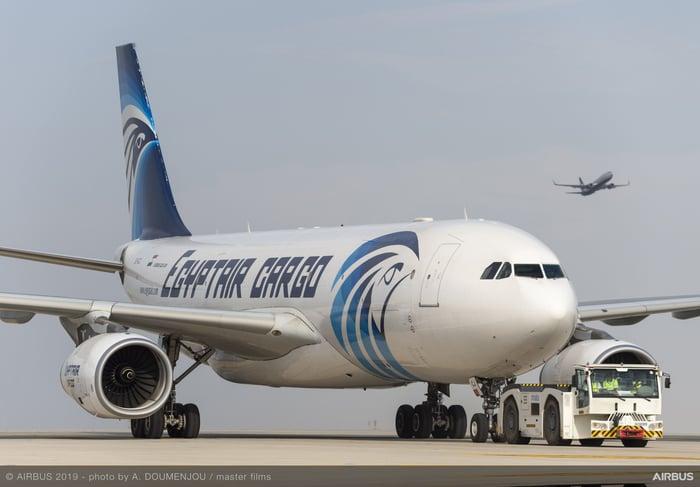 An Egyptair Cargo Airbus A330-200F freighter.