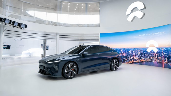 Nio's electric sedan ET7 on display at an auto show in China.