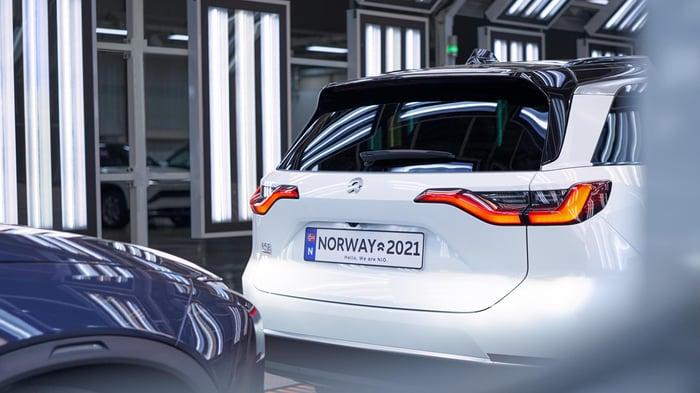 Nio ES8 electric sedan preparing to be shipped to Norway.