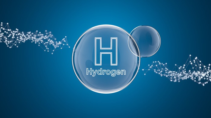 A representation of a hydrogen molecule.
