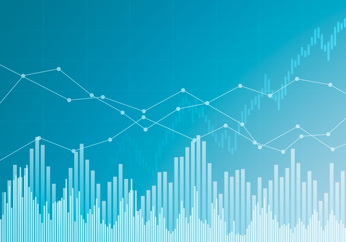 Line and bar charts on a blue background.