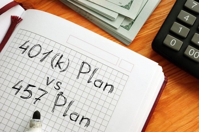 """A stack of bills, a calculator, and a notebook with the words """"401(k) Plan vs. 457 Plan"""" written in it."""