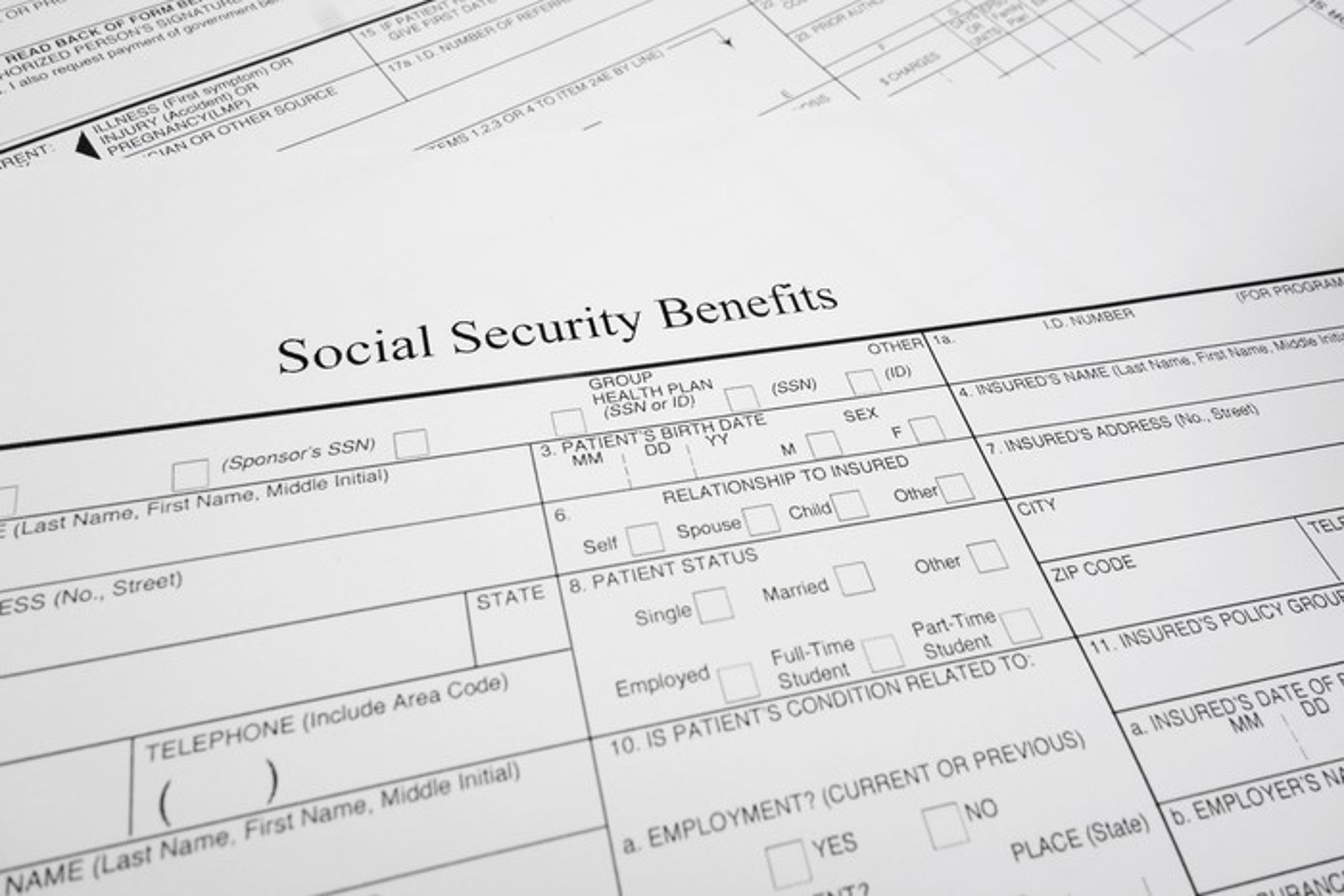Social Security benefits form