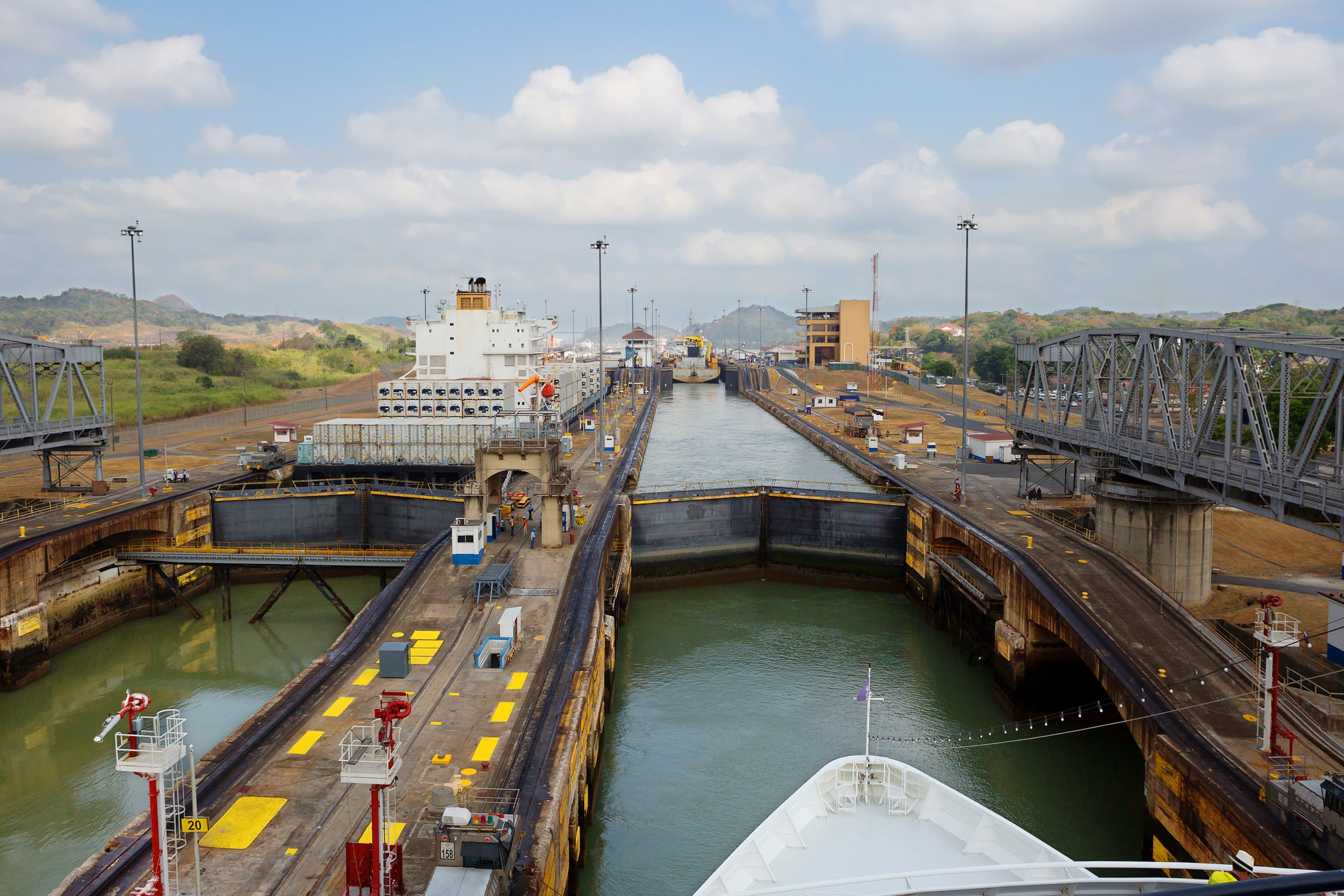 The first lock of the Panama canal from the Pacific ocean