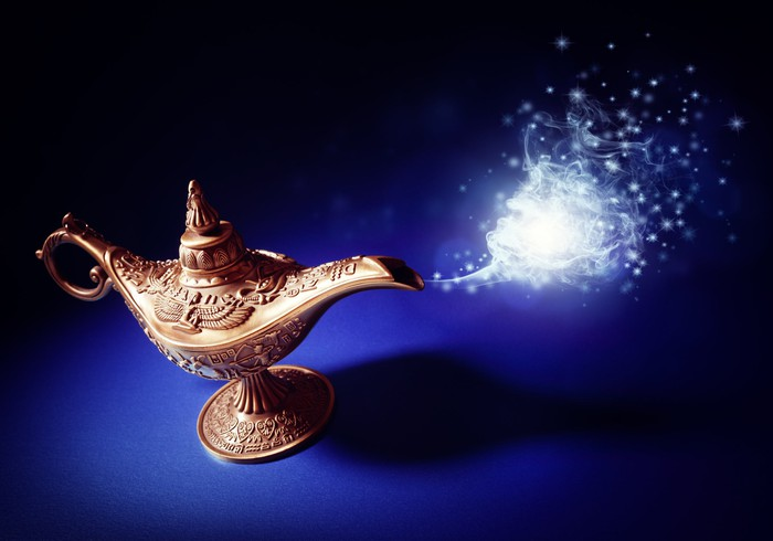 A magic lamp emitting a cloud of sparks.