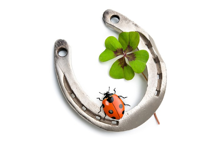Lucky horseshoe holding a ladybug and a four-leaf clover.