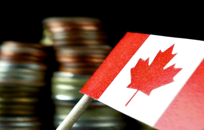 A small Canadian flag with coins in the background