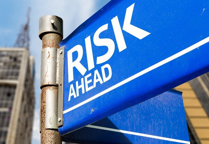 A blue street sign reading Risk Ahead.