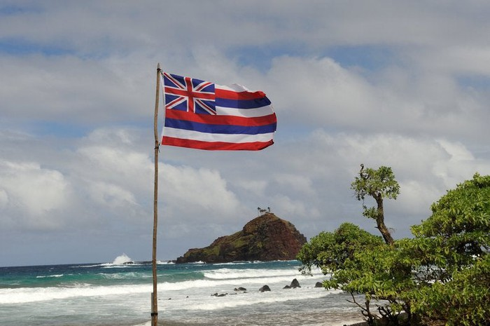 The state flag of Hawaii flying over a a sunny beach.