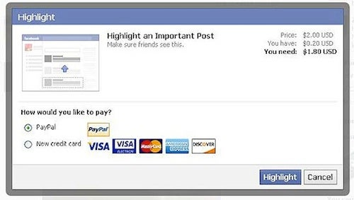Facebook Highlight Status Updates